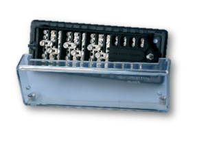Type 22985 Back Connected Test Terminal Block (clear polycarbonate  Front cover. 11 – 32mm and 2 – 60mm studs.)