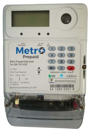 Metro Prepayment Electric Meter. Top-up via PayPoint