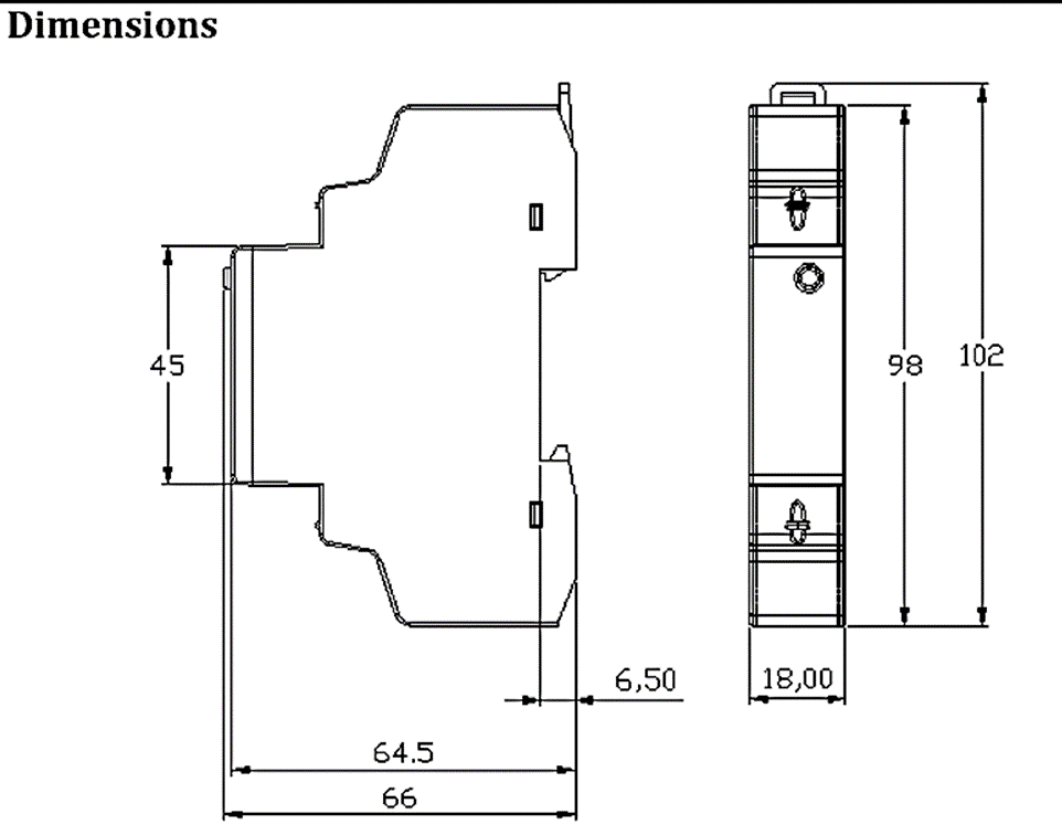 OB115 dimentions